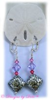Designs by Debi Handmade Jewelry Sterling Silver Leverback Earrings with Bali Floral Diamond Pillows and Swarovski Crystal Bicones in Rose, Violet and Padparadscha