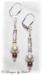 Designs by Debi Handmade Jewelry White and Burgundy Pearl Silver Filigree Leverback Earrings