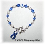 Designs by Debi Handmade Jewelry sterling silver and blue Swarovski crystal awareness bracelet with blue ribbon charm for domestic violence, guillain-barre, histiocytosis, huntington's, syringomyelia, prostate cancer