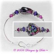 Handmade Jewelry Pansy Shield Triangle Artisan Handmade Lampowork Focal Bead and Swarovski Crystal Fuchsia and Purple Velvet Bicones Silver Fitted Bangle Bracelet with Hook Clasp ~ OOAK