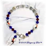 Designs by Debi Handmade Jewelry New England Patriots Sterling Silver and Swarovski Crystal Red and Blue Bicones Bracelet with a Heart Toggle Clasp