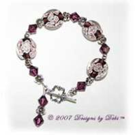 Designs by Debi Handmade Jewelry Purple Aloha Floral Lentil Beads, Silver Flowers and Swarovski Crystal Amethyst Bicones Bracelet with a Silver Flower Toggle Clasp