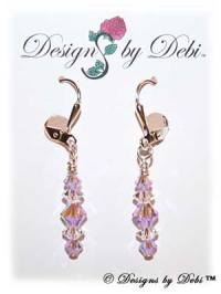 Designs by Debi Handmade Jewelry Signature Collection Earrings Violet AB2x and Crystal Earrings with sterling silver plated leverbacks