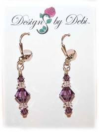 Designs by Debi Handmade Jewelry Signature Collection Earrings Lilac and Crystal Earrings with sterling silver plated leverbacks