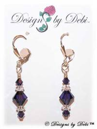 Designs by Debi Handmade Jewelry Signature Collection Earrings Purple Velvet and Crystal Earrings with sterling silver plated leverbacks