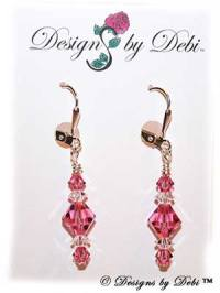 Designs by Debi Handmade Jewelry Signature Collection Earrings Rose and Crystal Earrings with sterling silver plated leverbacks October Birthstone