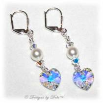 Designs by Debi Handmade Jewelry Swarovski White Pearls, Crystal AB Heart and Crytal AB Bicones Earrings with Sterling Silver Leverbacks for Wedding Bride