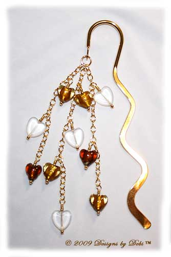 Designs by Debi Handmade Jewelry Brown and Etched Glass Hearts Gold Squiggle Shepherd's Hook Bookmark