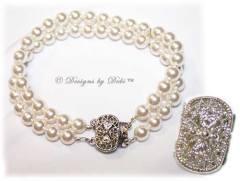 Designs by Debi Handmade Jewelry White Double Strand Swarovski Pearl Bracelet with Antique-style Tab Clasp
