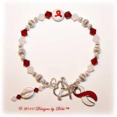 Designs by Debi Handmade Jewelry Aplastic Anemia Awareness Bracelet Survivor red and white