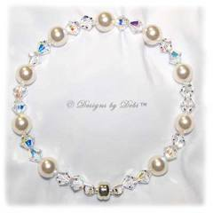 Designs by Debi Handmade Jewelry White Pearl and Swarovski Crystal AB Bicones Bangle Bracelet with Magnetic Clasp