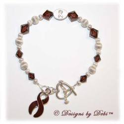 Designs by Debi Handmade Jewelry Awareness Bracelet for brain aneurysm awareness, headaches awareness, migraines awareness, hemangioma awareness, meningitis awareness, multiple myeloma awareness, sickle cell anemia awareness,thrombophelia awareness, vascular malformation awareness