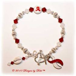 Designs by Debi Handmade Jewelry Awareness Survivor Bracelet for aplastic anemia awareness, dvt awareness