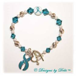 Designs by Debi Handmade Jewelry Awareness Bracelet Teal for PTSD awareness, post traumatic stress disorder awareness, anxiety awareness, food allergies awareness, cervical cancer awareness, OCD awareness, rape awareness, sexual assault awareness, panic disorder awareness, substance abuse awareness, tourette's awareness