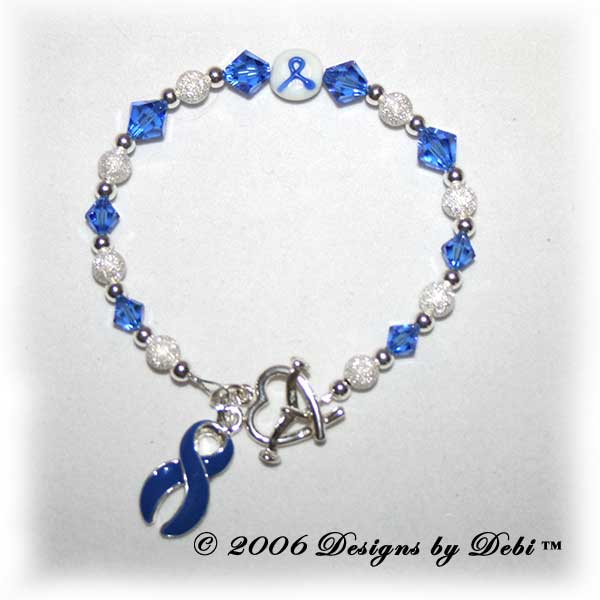 Designs by Debi Handmade Jewelry Awareness Bracelet for chronic fatigue syndrome awareness, crohn's disease awareness, colon cancer awareness, domestic violence awareness, down syndrome awareness, epstein barr virus awareness, guillain barre awareness, guillain-barre awareness, histiocytosis awareness,  huntington's awareness, syringomyelia awareness, prostate cancer awareness