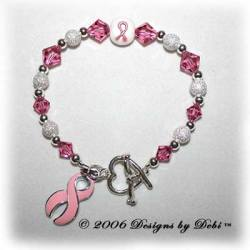 Designs by Debi Handmade Jewelry Awareness Bracelet Sample Style #2 Pink for breast cancer awareness, childhood cancer awareness, cleft lip awareness, cleft palate awareness
