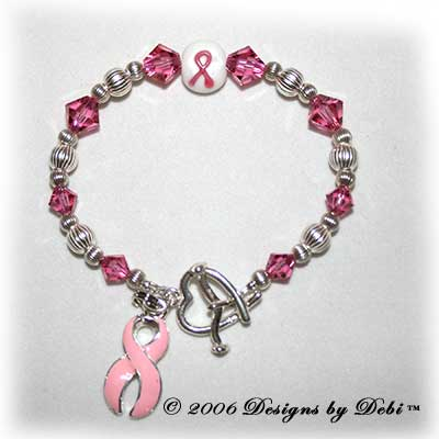 Designs by Debi Handmade Jewelry Awareness Bracelet Sample Style #4 Pink for breast cancer awareness, childhood cancer awareness, cleft lip awareness, cleft palate awareness