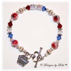 Designs by Debi Handmade Jewelry Remember 9/11 Memorial Bracelet Non-Personalized Flag