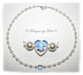 Designs by Debi Handmade Jewelry Swarovski White Pearls, Crystal AB Heart and Crytal AB Bicones Necklace with Sterling Silver Heart Lobster Clasp for Wedding Bride
