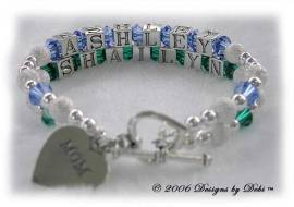 Designs by Debi Handmade Jewelry 2 strand Karen Style Bracelet in the Stardust and Seamless Round bead combination with Sapphire (September) and Emerald (May) crystals, a heart toggle clasp and Mom heart charm.