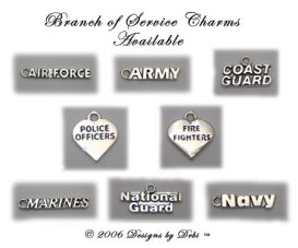 photo of the sterling silver branch of service charms for the Support Your Soldier Bracelets™ army, air force, marines, navy, coast guard, national guard, police officers, fire fighters