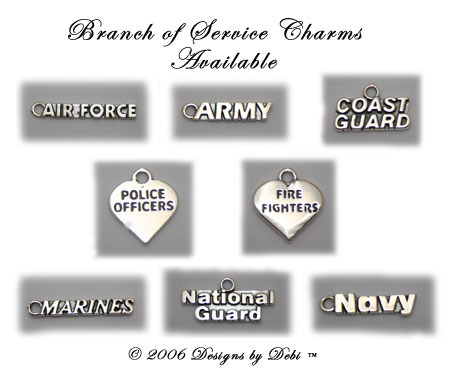Designs by Debi Handmade Jewelry Branch of Service Charms