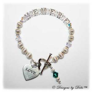 Designs by Debi Handmade Jewelry Ali Style Bracelet in the Corrugated with Antiqued Daisies bead combination with Crystal AB crystals, a heart toggle, Love heart charm and Emerald (May) birthstone dangle