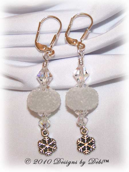 I Love Snow Handmade Sterling Silver Leverback Earrings made with white sugared snowball artisan handmade lampwork beads, sterling silver snowflakes and Swarovski crystal.