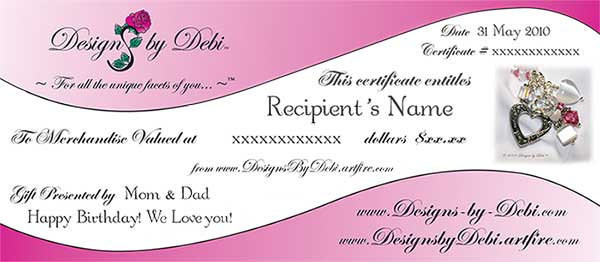 Designs by Debi Handmade Jewelry Gift Certificate Sample