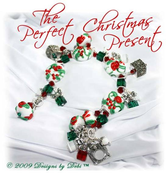 The Perfect Christmas Present One-of-a-Kind Handmade Bracelet made with red, green and white artisan handmade lampwork beads, Bali silver, Swarovski crystals in siam, emerald and white alabaster, and cat's eye with a Bali toggle style clasp.