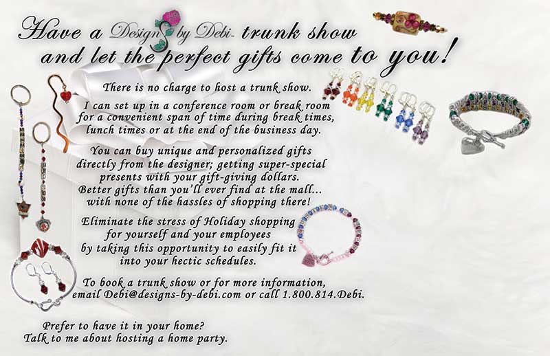 photos of jewelry and other gift items along with information for businesses to host a Designs by Debi trunk show for holiday shopping.