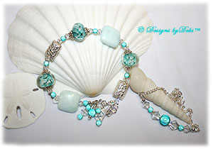 Designs by Debi Handmade Jewelry Aloha Collection Mint Green Bracelet and Anklet Set. Features mint green aloha floral rondelles, bali embossed floral rectangular pillow beads, puffy square hemimorphite beads, sterling bead caps, mint green miracle beads, multiple dangles, a petite sterling floral clasp and matching anklet.