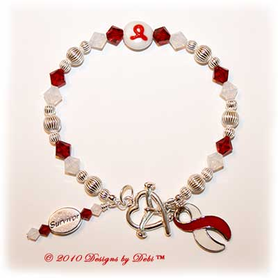 Designs by Debi Handmade Jewelry Aplastic Anemia Awareness Bracelet Survivor red and white