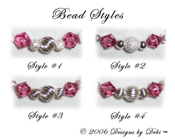 Designs by Debi Handmade Jewelry Awareness Bracelet bead combination styles to choose from