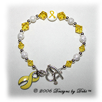 Designs by Debi Handmade Jewelry sterling silver and yellow Swarovski crystal awareness bracelet with yellow ribbon charm for childhood cancer, military support, missing children, obesity