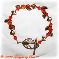 "Designs by Debi Handmade Jewelry ""Falling Leaves"" Copper Leaves and Diamonds and Swarovski Crystal Fire Opal Bicones Bracelet with a Copper Leaf Toggle Clasp"