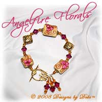 "Designs by Debi Handmade Jewelry ""Angelfire Florals"" Cream, Goldstone and Fuchsia Artisan Handmade Lampwork, Bali Gold Vermeil Floral Pillows and Swarovski Crystal Fuchsia and Topaz Bicones Bracelet with a Gold Vermeil Round Floral Toggle Clasp ~ OOAK"