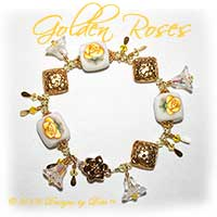 "Designs by Debi Handmade Jewelry ""Golden Roses"" Yellow Rose on White Artisan Handmade Polymer Clay Pillows, Bali Vermeil Diamond Floral Pillows, Swarovski Crystal Jonquil and Citrine Bicones and Crystal AB Bell Flowers Bracelet with a Gold Vermeil Magnetic Flower Clasp ~ OOAK"