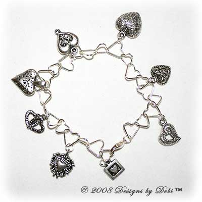 "Designs by Debi Handmade Jewelry ""Hearts, Hearts and more Hearts"" Silver Heart Link Chain and Assorted Heart Charms Bracelet with Lobster Clasp"