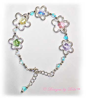 Designs by Debi Handmade Jewelry Silver Flowers and Pastel Swarovski Crystal Flowers Bracelet with Swivel Lobster Clasp and Extender Chain