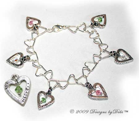 Designs by Debi Handmade Jewelry Sterling Silver Plated Heart Link Chain and Swarovski Crystal Love xoxo Heart Charms Bracelet with Lobster Clasp