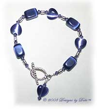 Violet Cat's Eye Hearts and Nuggets Bracelet with a Silver Oval Toggle Clasp