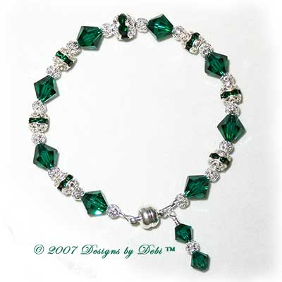 Designs by Debi Handmade Jewelry Swarovski Crystal Emerald Bicones and Silver Filigree Bracelet with a Magnetic Clasp
