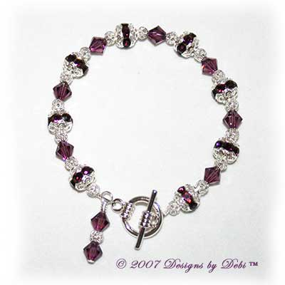 Designs by Debi Handmade Jewelry Swarovski Crystal Amethyst Bicones and Silver Filigree Bracelet with a Silver Round Toggle Clasp