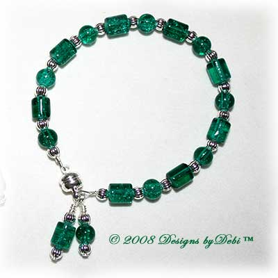 Designs by Debi Handmade Jewelry Green Crackle Glass and Silver Bracelet with a Magnetic Clasp