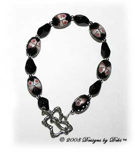Designs by Debi Handmade Jewelry Black Butterflies Bracelet with a Silver Butterfly Toggle Clasp