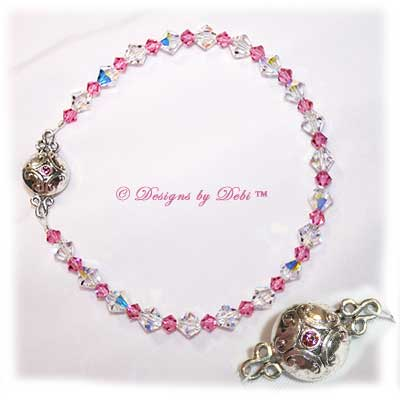 Designs by Debi Handmade Jewelry Swarovski Rose Pink and Crystal AB Bicones Bracelet with Silver and Crystal Magnetic Clasp