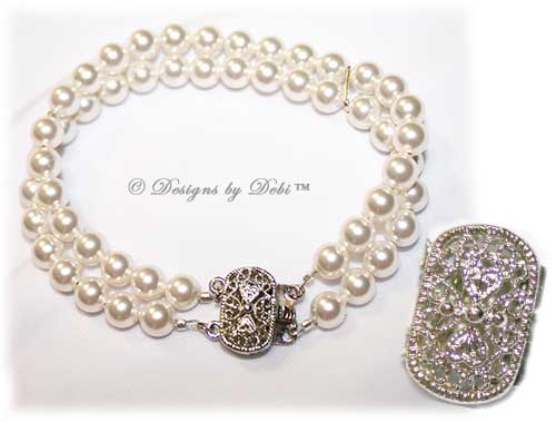 Designs by Debi Handmade Jewelry White Double Strand Swarovski Pearl Bracelet with Antique-style Tab Clasp