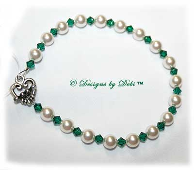 Designs by Debi Handmade Jewelry Swarovski White Pearls and Emerald Bicones Bracelet with Sterling Silver Plated Heart Toggle Clasp