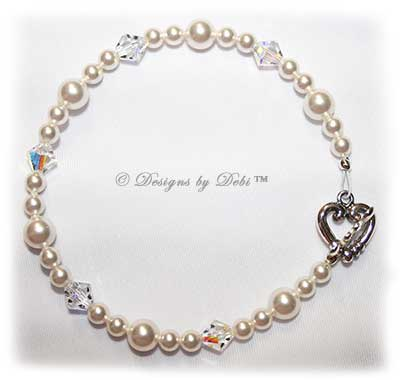 Designs by Debi Handmade Jewelry White Pearl & Swarovski Crystal AB Bicones Bracelet with Sterling Silver Heart Toggle Clasp
